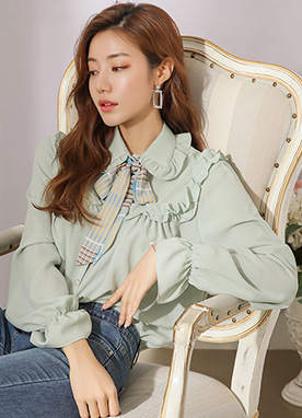 Ribbon Tie Set Frill Blouse, Styleonme