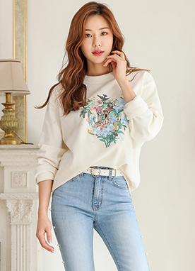 Romantic Floral Embroidered Pullover, Styleonme