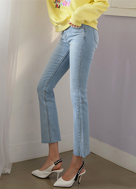 Damaged Light Blue Boot-Cut Jeans, Styleonme
