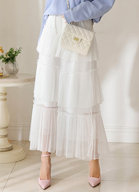 Three Tier Long Pleated Skirt, Styleonme