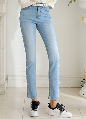 Pearl Accent Light Blue Straight Leg Jeans, Styleonme