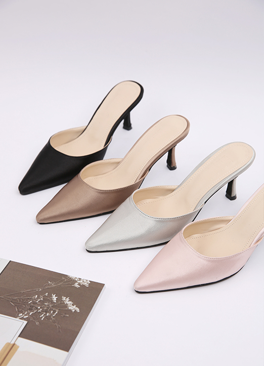 Satin Pointed Slip-On Heels, Styleonme
