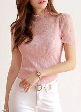 See-through Lace Short Sleeve Blouse, Styleonme