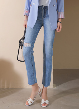Destroyed Slit Cut Straight Leg Jeans, Styleonme
