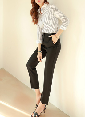 Pinstripe Button-Up Collared Blouse, Styleonme