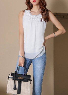 Sequined Flower Chiffon Sleeveless Top, Styleonme