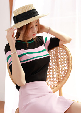 Stripe Puff Short Sleeve Knit Tee, Styleonme