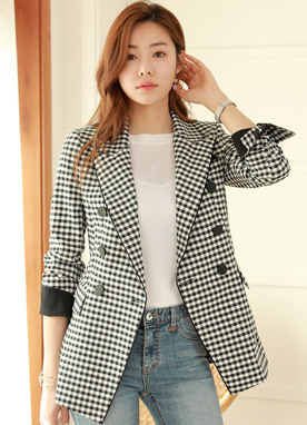 Gingham Check Double-Breasted Jacket, Styleonme