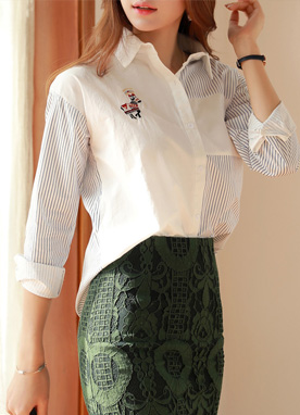 Embroidered Pinstripe Detail Collared Shirt, Styleonme