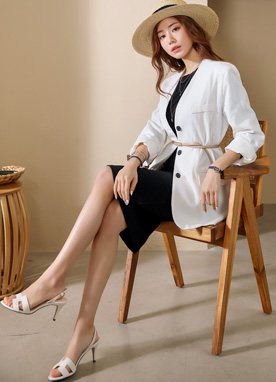 Black Button Collarless Linen Jacket, Styleonme