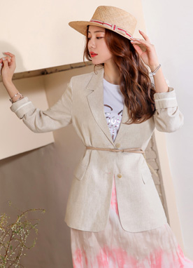 Two Button Linen Jacket, Styleonme