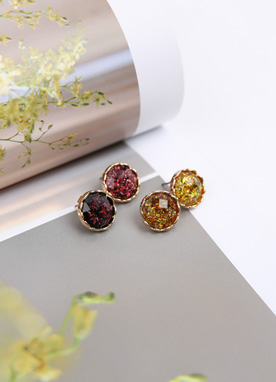 Round Sparkling Earrings, Styleonme