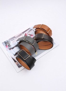 Squared Buckle Basic Belt, Styleonme