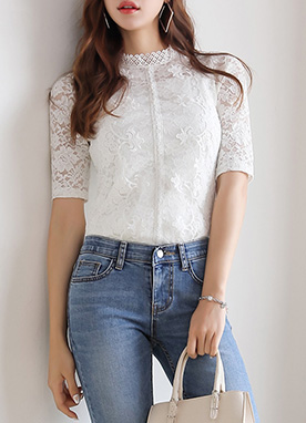 Pearl Button Half Sleeve Lace Tee, Styleonme