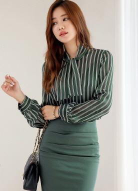 Pinstripe Roll-Up Sleeve Tie Neck Blouse, Styleonme