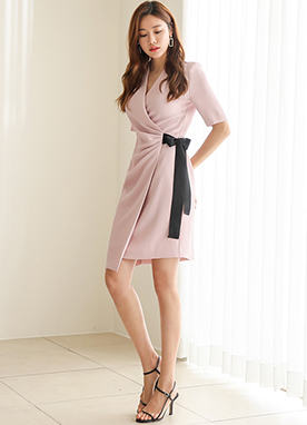 Shirred V-Neck Wrap Dress, Styleonme
