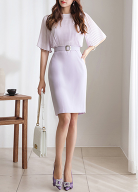 Pleated Detail Belted Dress, Styleonme