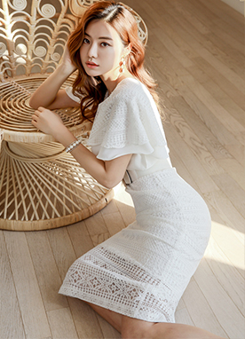 Butterfly Sleeve Lace Dress, Styleonme