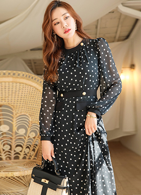 Dot Pattern Chiffon Long Dress, Styleonme
