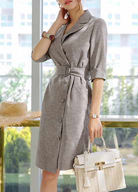 Belt Set Tailored Jacket Dress, Styleonme