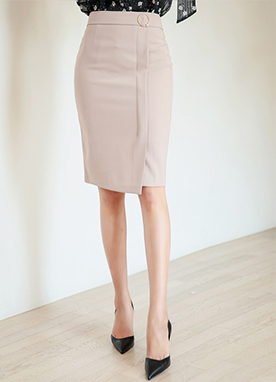 Pearl Gold Ring Detail H-Line Skirt, Styleonme