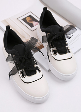 Chiffon Ribbon Lace Sneakers, Styleonme