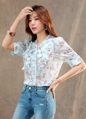 Floral Print Tie Neck Short Sleeve Ruffle Blouse, Styleonme