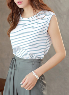Stripe Sleeveless Tee, Styleonme