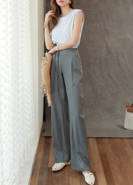 High-Waisted Tie Belt Wide Leg Slacks, Styleonme