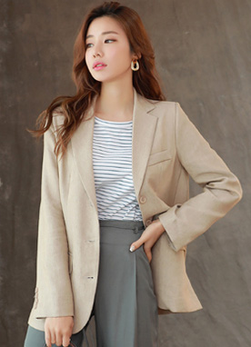 Three Button Linen Tailored Jacket, Styleonme