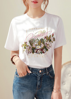 Flower Embroidered Round Neck Tee, Styleonme