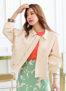 Short Collared Jumper Jacket, Styleonme