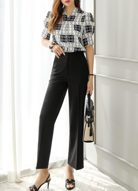 High-Waisted Wide Leg Slacks, Styleonme