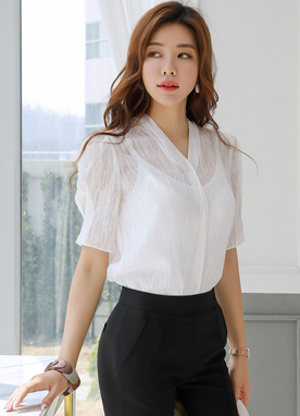 Puff Sleeve Sheer V-Neck Blouse, Styleonme