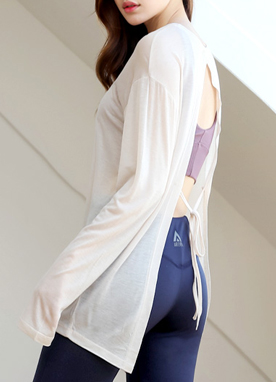 Soft Open Tie Back T-shirt, Styleonme