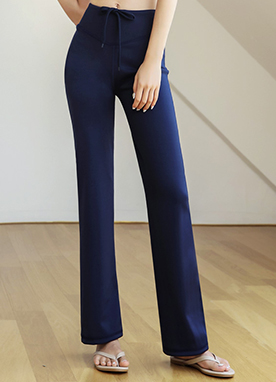 Waist Tie Slim Boot-Cut Pants, Styleonme