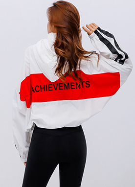 Sporty Windbreaker Jacket, Styleonme
