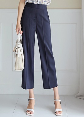 Back Elastic Waistband Wide Leg Slacks, Styleonme