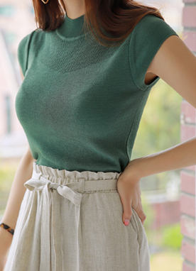 See-through Detail Cap Sleeve Knit Tee, Styleonme