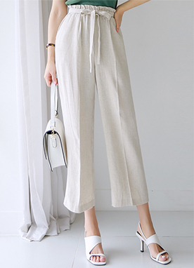 Ribbon Tie Linen-blend Wide Leg Pants, Styleonme