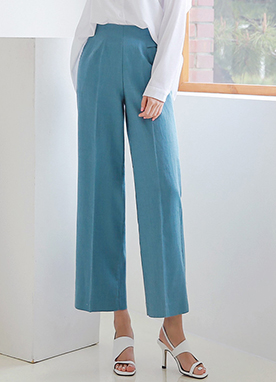 Eyelet Detail Linen-blend Wide Leg Pants, Styleonme