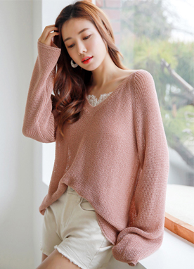 Loose Fit V-Neck Knit Sweater, Styleonme