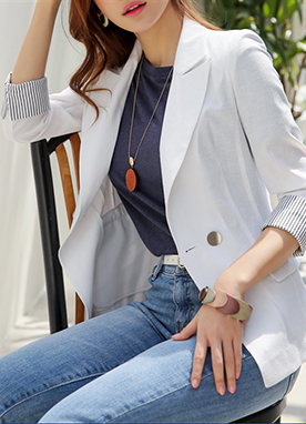 Pinstripe Cuff Linen Tailored Jacket, Styleonme