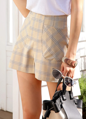 Check Print High-Waisted Shorts, Styleonme