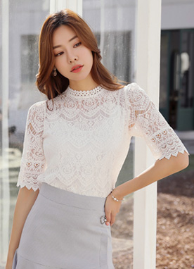 Half Sleeve Full Lace Blouse, Styleonme