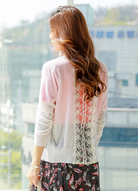 Back Lace Detail Sheer Cardigan, Styleonme