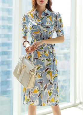 Leaf Sketch Print Button-Up Collared Dress, Styleonme