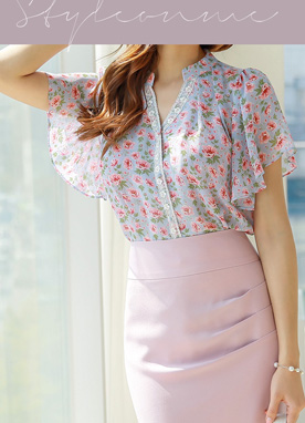 Floral Print Butterfly Sleeve Lace Trim Blouse, Styleonme
