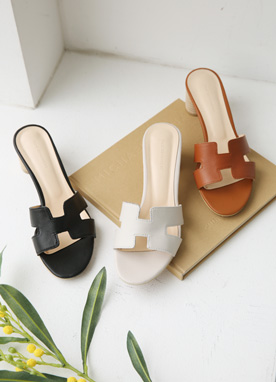H-Strap Leather Mules, Styleonme