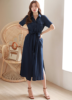 Side Slit Long Collared Shirt Dress, Styleonme